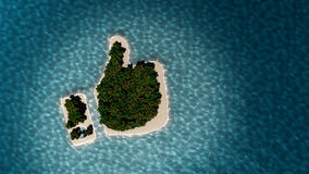 Tropical island in the form of thumb up. Success way. Tropical island in the form of the thumb up. 3D Illustration Stock Photography