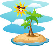 Tropical island with funny sun character Royalty Free Stock Images