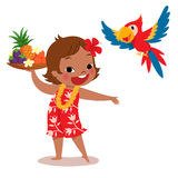 Tropical island girl and parrot. Illustration of a cheerful tropical island girl holding tropical fruit tray and her parrot Stock Image