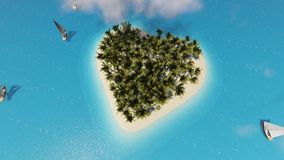 Tropical island heart. Tropical relax. Heart shape. Summer holiday. Clouds float over a beautiful tropical island of stock illustration
