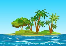 Tropical island in the horizon of the ocean, ocean landscape, vector illustration stock illustration