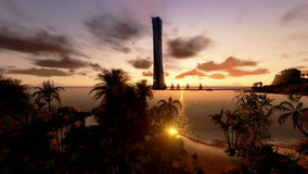 Tropical Island, Hotel on Coastline and yachts at sunset, stock footage Royalty Free Stock Photo