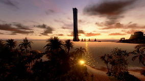 Tropical Island, Hotel on Coastline and yachts at sunset, timelapse, stock footage Stock Photos
