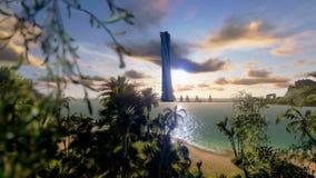 Tropical Island, Hotel on Coastline and yachts at sunset, timelapse sunrise, stock footage Stock Photo