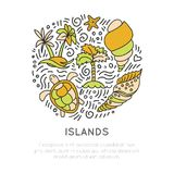 Tropical Island icon set, vector hand draw cartoon icon concept in round form with decorative elements. Palm, seashell. Islands, turtle, starfish and Stock Images