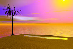 Tropical Island Illustration Royalty Free Stock Images