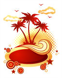 Tropical island illustration. Tropical island graphic illustration with coconut palm trees, birds,  waves, clouds, stars and circles. Red and orange colour tones Royalty Free Stock Photography