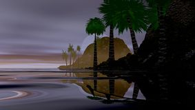 Tropical island illustration. Illustration of a tropical island, palm trees and smooth water at dusk Stock Photography