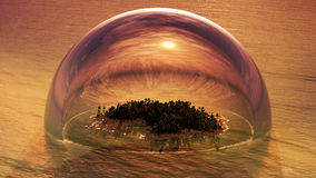 Tropical Island Inside Of Half Glass Dome. Stylized illustration of a tropical island inside of a half dome made from glass on a sunset environment Stock Image