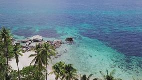 Tropical Island Koh Tao with Turquoise Water Bay and White Sandy Beach in Thailand. Aerial Top View. Shot with a DJI Mavic fps 29,97 4k stock video