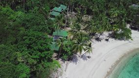 Tropical island Koh Tao with turquoise water bay and white sandy beach in Thailand. Aerial Top View. Shot with a DJI Mavic fps 29,97 4k stock footage