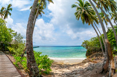 Tropical island lagoon. Tropical island photographed with fisheye lens royalty free stock photo