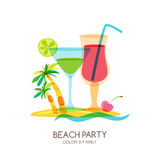 Tropical island landscape with cocktail glass and palm tree. Vector doodle isolated illustration. Royalty Free Stock Images