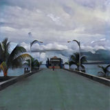 Tropical island landscape with ferry in painting style. Digital illustration - Ferry in port. Tropical island landscape in painting style. Ferry pier with Royalty Free Stock Photos