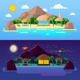 Tropical Island Landscape with Mountains and Bungalows on the Beach at Day and Night Stock Images