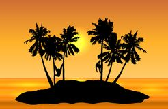 Tropical island landscape vector with monkeys on palms and yellow sun on orange shaded sky. stock illustration