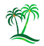 Tropical island logo. Tropical island palms coconuts logo Royalty Free Stock Photography