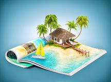 Tropical island on a magazine Royalty Free Stock Photography