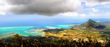 Tropical Island Mauritius Aerial Panoramic View stock photography