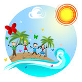 Tropical Island Means Go On Leave And Kids Royalty Free Stock Photo