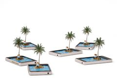 Tropical island on mobile phone lonely concept.3D illustration. Tropical island on mobile phone lonely concept. 3D illustration Royalty Free Stock Photos