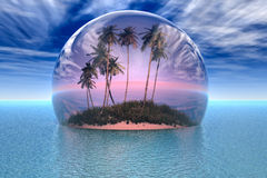 Tropical island - Nature in danger. Tropical island with palms and ocean (red bubble Royalty Free Illustration