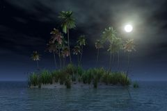 Tropical island by night Stock Images