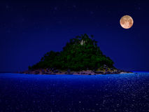 Tropical island night. Tropical island and sand beach at night Stock Photography