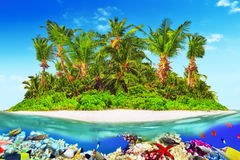 Tropical island in Ocean and beautiful underwater world. Royalty Free Stock Photography