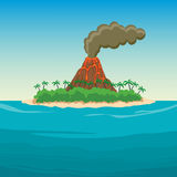 Tropical island in ocean with palm trees and volcano.