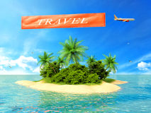 Tropical island in the ocean and plane with inscription travel Stock Photo
