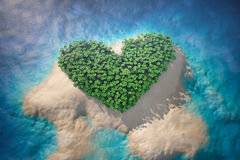 Tropical Island in Ocean with Trees as Heart Stock Photos