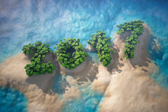 Tropical Island in Ocean with Trees as 2017 year sign. 3d rendering Royalty Free Stock Images