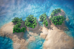 Tropical Island in Ocean with Trees as 2016 year sign. 3d rendering Stock Photography