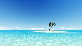 Tropical island with one palm tree and clear sky stock video
