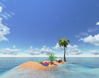 Tropical island and palm Stock Image