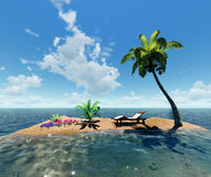 Tropical island and palm Stock Images