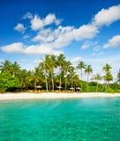 Tropical island palm beach with blue sky. Tropical island palm beach with beautiful blue sky Royalty Free Stock Photo