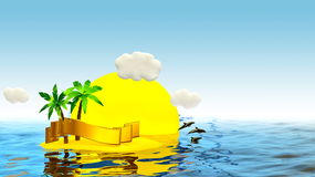 Tropical island with palm and golden ribbon Stock Images