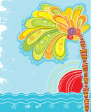 Tropical island with palm and sun royalty free illustration