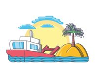 Tropical island with palm tree beach vacation. Vector illustration graphic design Royalty Free Stock Photography