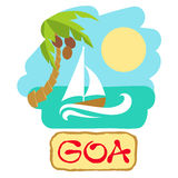 Tropical island with palm tree and boat. Vector illustration icon for traveling. Royalty Free Stock Images