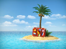 Tropical island with palm tree. Desert tropical island with palm tree, chaise lounge, suitcase and three empty wooden signpost. Concept for rest, holidays Royalty Free Stock Image