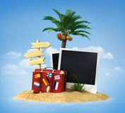 Tropical island with palm tree. Desert tropical island with palm tree, chaise lounge, suitcase and three empty wooden signpost. Concept for rest, holidays Royalty Free Stock Photo