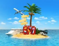 Tropical island with palm tree,. Desert tropical island with palm tree, chaise lounge, suitcase and three empty wooden signpost. Concept for rest, holidays Stock Photos
