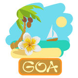 Tropical island with palm tree, flower plumeria and boat. Vector illustration icon for traveling. Stock Photos