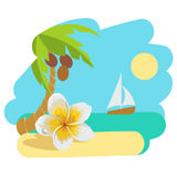 Tropical island with palm tree and flower. Vector illustration icon for traveling. Stock Photo