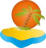 Tropical island, palm tree, sun. Tropical island, palm tree and sun Stock Images