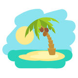 Tropical island with palm tree. Vector illustration icon in flat style. Royalty Free Stock Photos