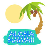 Tropical island with palm tree. Vector illustration icon for Hawaii traveling. Stock Photos